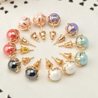Wholesale Fashion Sterling Silver Stud Earrings for Women Earrings Brincos Pearl Jewelry Wedding E06