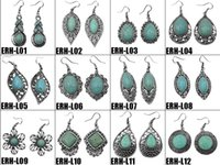 Wholesale New retro fashion ethnic style turquoise jewelry earrings turquoise dangle earrings Bohemia high quality