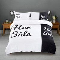 Wholesale 4pcs Black and White Bedding Set Her His Side Soft Duvet Cover Pillowcases Flat Sheet King Queen Bed Sets Hot Lovers Bed Linen