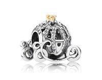authentic food - Authentic Sterling Silver European Cinderella Pumpkin Carriage Charm14K Gold Crown Original Fits pandora Charm Bracelet J911