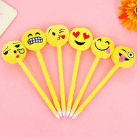 arts expression - New Cute Expression Ballpoint Pens Novelty Cartoon Plush Plastic Ballpen Stationery School Office Supplies