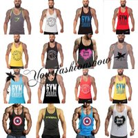 Wholesale Fitness Men Blank Stringer Cotton Captain America Tank Top Singlet Bodybuilding Sport Undershirt casual Clothes Gym Vest Muscle Singlet L22M