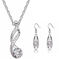 aqua plants - Fashion Women Jewelry Sets Silver Gold plated Austrian Crystal Necklace Earrings set Pendant Chain Necklaces for Woman Gift