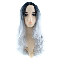 Wholesale 28 quot cm Full Head Ombre Wig Woman Long Wavy Gradient Colored Black To Gray Heat Resistant Synthetic Hair Cosplay Wig