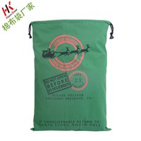 Wholesale 2016 Christmas Large Canvas Monogrammable Santa Claus Drawstring Bag With Reindeers Monogramable Christmas Gifts Sack Bags TOP1389X