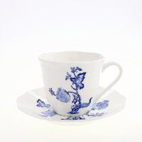 Wholesale Fun Garden Coffee Tea Cup and Saucer Bone China In glazed