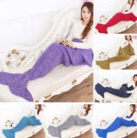Wholesale Knitted Mermaid Tail Blankets colors adults cm free size super soft Swaddling sofa Blanket Mermaid Tail Blankets used in seasons