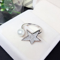 Wholesale rings Sterling silver stars Zircon Shell pearl has ring opening for women gift iice latest fashion Jewelry NO262