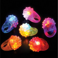Wholesale glow up toys LED Flashing Strawberry Finger Ring Bar Rave Light Up LED Flashing Jelly Bumpy Rings for Prom Party Christmas Gift