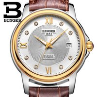 barton brands - Genuine Swiss BINGER Brand Mens hollow automatic mechanical self wind sapphire watch leather strap waterproof table Barton sery