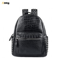 aaron school - Aaron Steampunk Designer Rivet Crocodile Leather Women Backpacks Vintage School Bag For Teenage Girls mochilas escolar feminina