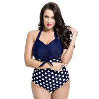 Wholesale Multi Color Dot One Piece Swimsuit Women Plus Size Swimwear High Waist Beachwear Female Push Up Monokini Ruched Bathingsuit