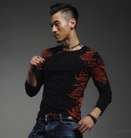 Cheap Autumn men's T-shirt Slim fit sequined new listing carp printed hot drilling long-sleeved V-neck T-shirt cotton Men's T-shirt bottoming shir