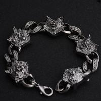 antiques direct - Factory Direct Fashion Jewelry Antique Wolf Head Charm Bracelet Alloy Bracelet Punk Bracelet For Christmas Gift Price