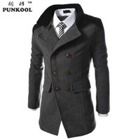 Wholesale Fall PUNKOOL Fashion Men s Autumn Wool Coat Men Casual Turn down Collar Men Pea Coat Double Breasted Winter Wool Jacket