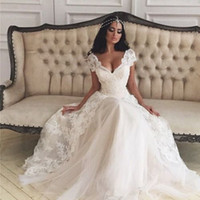 african girl dress - A line v neck shor sleeve lace split simple style2016 vintage wedding dresses bridal gowns cheap African bride for black girl