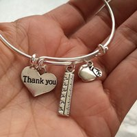 apple teacher - 12pcs Teacher Bracelet with apple ruler and thank you heart for teachers silver tone bangles