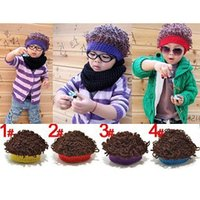 afro wig lot - New Arrival children fashion Hats Kids Winter Novel Knitted Skull with Afro Wigs