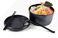 Cheap Noodle bowl with lid Black matte wood grain Japanese soup large ramen melamine bowl cuencos,saladier en plastique tigela