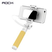 Cheap Rock 2016 NEW Rotatable Holder Phone Foldable Super Mini Wired Control & Mirror Selfie Stick Handheld Extendable Compatible Free Shipping