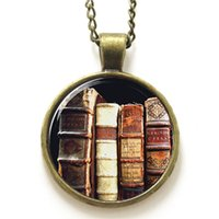 american bookshelf - 10pcs Book necklace A stack of books on the bookshelf necklace print photo Book Lover necklace