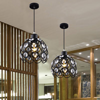 Wholesale 3W Modern crystal pendant lamps design white black iron chandelier for home lights bar Living Room Lighting V
