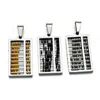 abacus charm - gothic retro movable abacus abacus Pendant for Necklace Key buckle DIY Jewelry Stainless Steel Titanium Steel personality Charms Vintag