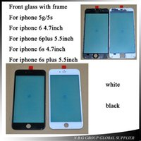 Wholesale 100pcs by DHL Black White Front Outer Lens Touch Screen Glass With Frame For iphone s plus s s plus phone Replacement