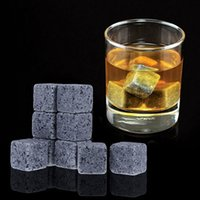 Wholesale 9pcs set Whiskey Stones Ice Stones Drinks Cooler Cubes Beer Rocks Granite Pouch Drink Cooling Ice Melts WA1305