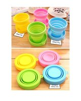 Wholesale Licy jenny L J sport childern Outdoor Portable camping traveling Folding Silica gel Cup mugs a set candy color