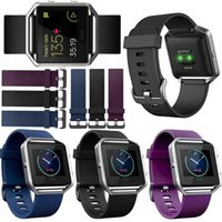 add frames - Newest Classic Silicone Sport Band For Fitbit Blaze Watch Band Accessory Black Purple Blue Bracelet Strap Add Metal Frame With Spring Pin