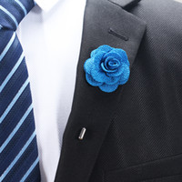 Wholesale New fashion men cc brooch flower lapel pin suit boutonniere fabric yarn pin colors button Stick flower brooches for wedding party