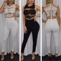 Wholesale Sheer Lace Jumpsuits - 2017 White Black Sexy Floral Embroidered Sheer Mesh Bodysuit Overalls Women Party Clubwear Lace Transparent Bandage Bodycon Jumpsuit H64037