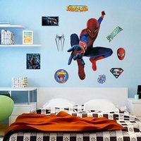 Wholesale 3d spiderman wall stickers kids room decorations adesivos de paredes home decals animal mural arts print movie poster
