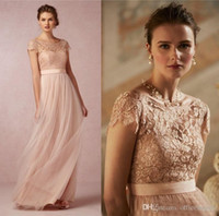 Wholesale 2016 Vintage Blush Pink Lace Long Prom Dresses With Illusion Bateau Neck Capped Sleeves Low Back A Line Floor length Formal Bridesmaid Gowns