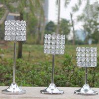 best crystal vase - Best selling sliver crystal bead iron Wedding flower stand Centerpiece Vase