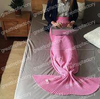 Wholesale Adult Mermaid Blankets Handmade Blankets cotton Mermaid Tail Sleeping Bags Sofa Nap Blankets cm