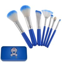 beauty gift box - Cute Cartoon Doraemon set Brush Set beauty Eye Shadow Blush Set Kit Tools Cosmetic Makeup Brush Set with Metal Box gift