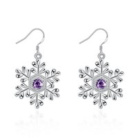 amethyst chandelier earrings - Latest Trendy Noble Amethyst Snowflake Dangler Earrings For Women Engagement Plate Sterling Silver Earings Eardrop Christmas Gift