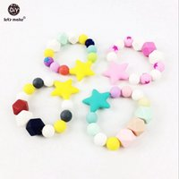 baby star food - 2pcs Silicone Star Nursing Bracelet Baby Nurse Charms Food Grade Chewable Beads Can Chew Baby Shower Gift Baby Decorative
