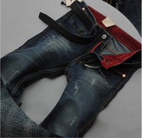 authentic denim jeans - 2016 New Men s Jeans business Large Size Men Brand jeans Slim Jeans original Single authentic Regular Fit long jeans Pencil Pants Midweight