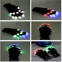 Wholesale 100pairs LED shine gloves Christmas Party Decorations for Party Supplies hot selling via DHL shiip
