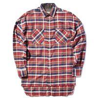 Wholesale FEAR OF GOD shirts men justin bieber flannel Scotland plaid long sleeve shirts brand Hiphop extended oversized Men Cotton shirt
