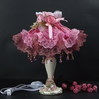 Wholesale Crystal Cloth Lace Pink Rose Romantic Princess Romantic Table Light Desk Lamp Bedside Hotel Store Restaurant Wedding Party