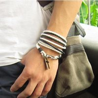 acting ropes - Multilayer punk leather rope cross bracelets fashionable men and women students act the role ofing is tasted