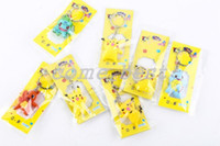 Wholesale 2016 poke Cartoon Pikachu pokeball pvc Action Figures Poke Anime Keychain Keyring key rings Pendant Halloween christmas gifts toys
