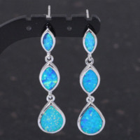 Wholesale Super Desinger style amp Retail Blue Fire Opal Silver Drop Dangle Earrings Fashionl Jewelry OE155A