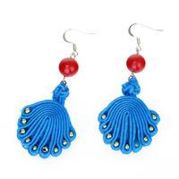 Wholesale New blue peacock drop Earrings For Women Vintage style Boho Retro Tassel Earring Party Accessories Dangle fabrics national Earring Jewelry