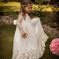 ancient poets - restoring ancient ways of bud silk long sleeve white with big bowknot communion dress small round collar wedding flower girl dress