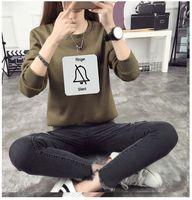 Pullover army girlfriend - harajuku style korean winter sweatshirts women girlfriends bell cartoon printed round neck kawaii hoodies women blouse